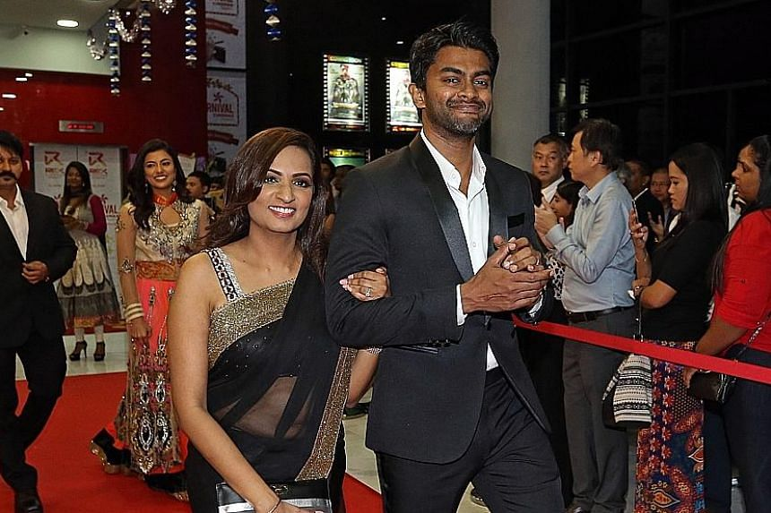 Abbas Akbar (left) with his wife Jaya Rathakrishnan at a preview of Chennai2Singapore in Singapore last month.