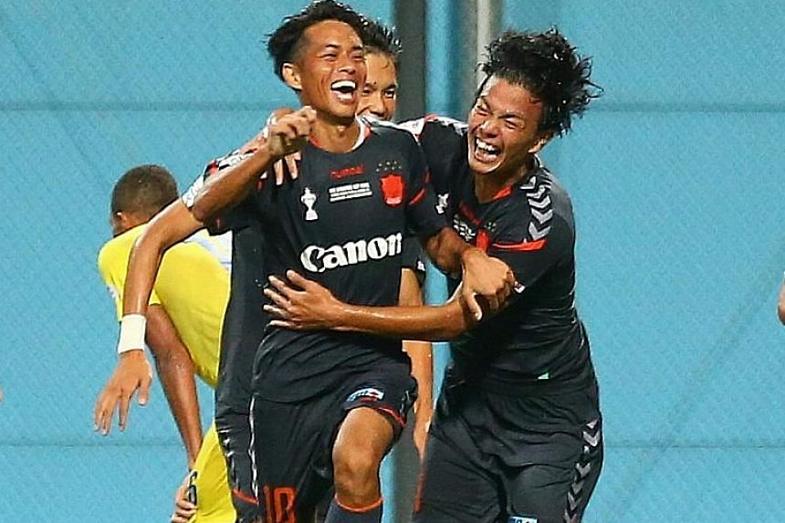 Albirex Niigata's Kento Nagasaki (No. 10) celebrating with his team-mates after scoring against Global Cebu during the Singapore Cup final, which they won 3-1 on penalties. The quadruple winners will be drastically changed next season as they have to