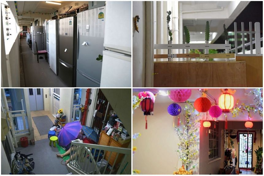(Clockwise from top left) Refrigerators left alone an HDB corridor in Simei, a wall put up by a resident to fence off a woman who was harassing her neighbours, Chinese New Year decorations in Bedok and a woman and her daughter sleeping outside their