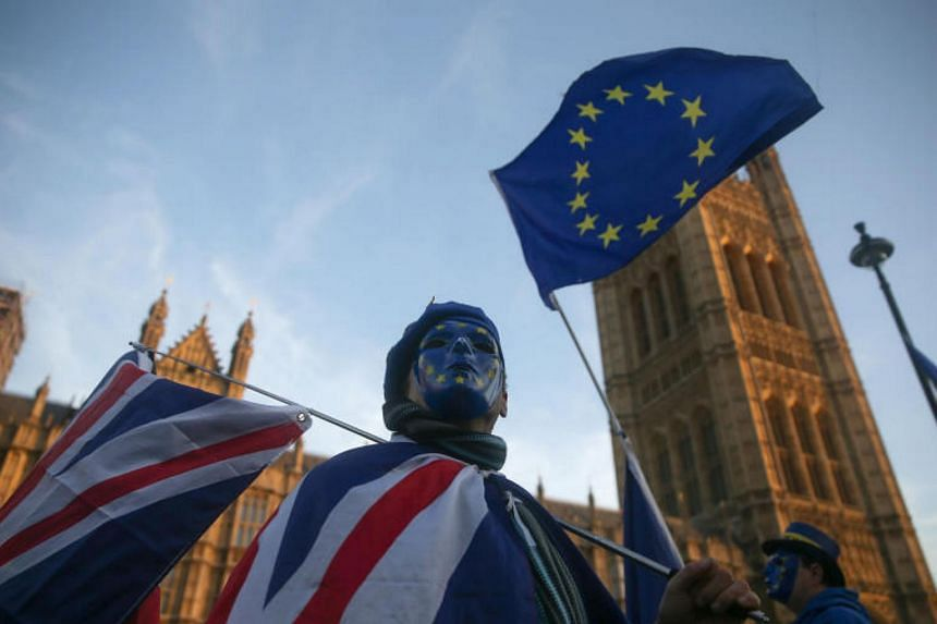 A pro-European Union, anti-Brexit demonstrator outside the Houses of Parliament in central London on Dec 18, 2017.