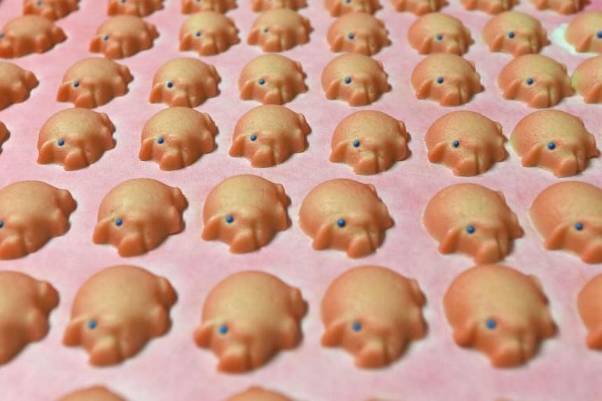 Pigs made of fresh marzipan seen at the headquarters of the traditional confectionary maker JG Niederegger GmbH in Luebeck, Germany.