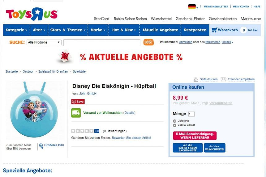 "On the Toys 'R' Us website, a Disney space hopper branded with the princesses from ""Frozen"" carried a price tag of 8.99 euros, compared to 7.98 euros for the ""Cars"" version."