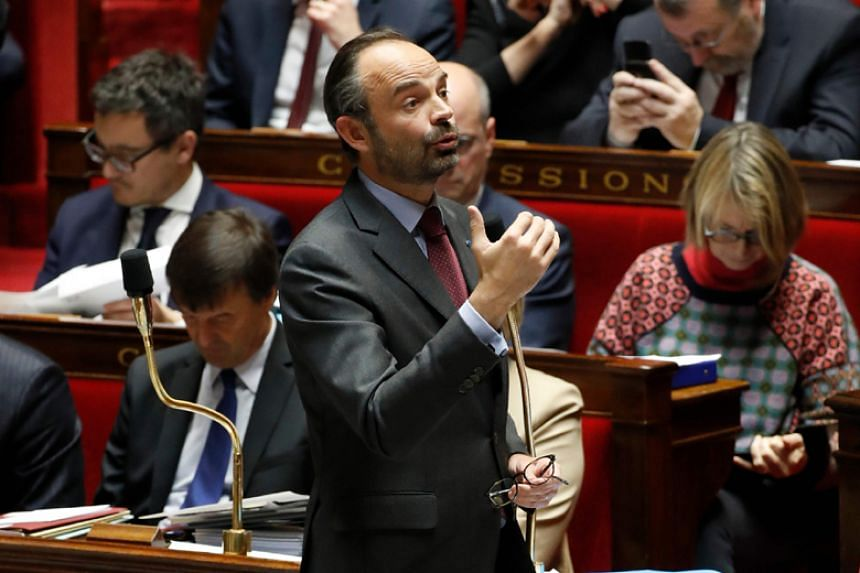 French Prime Minister Edouard Philippe (above) and the French delegation took a private plane to fly to New Caledonia and Japan earlier this month.