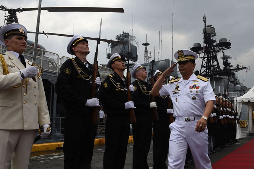 Philippine Navy Chief Vice Admiral Ronald Joseph Mercado (right) was abruptly removed from office on Dec 19, 2017.