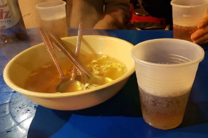 Each table is given a free steaming bowl of broth at most pojangmacha.