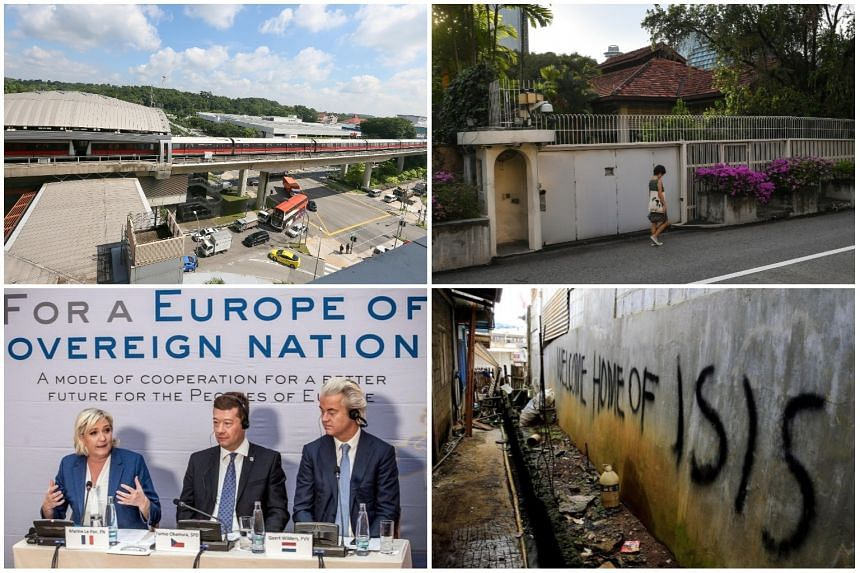 (Clockwise, from top left) Joo Koon MRT Station, where two trains collided in November; The home of the late former PM Lee Kuan Yew, at 38, Oxley Road; Graffiti on a wall in Marawi during the siege; and far-right leaders Marine Le Pen, Tomio Okamura
