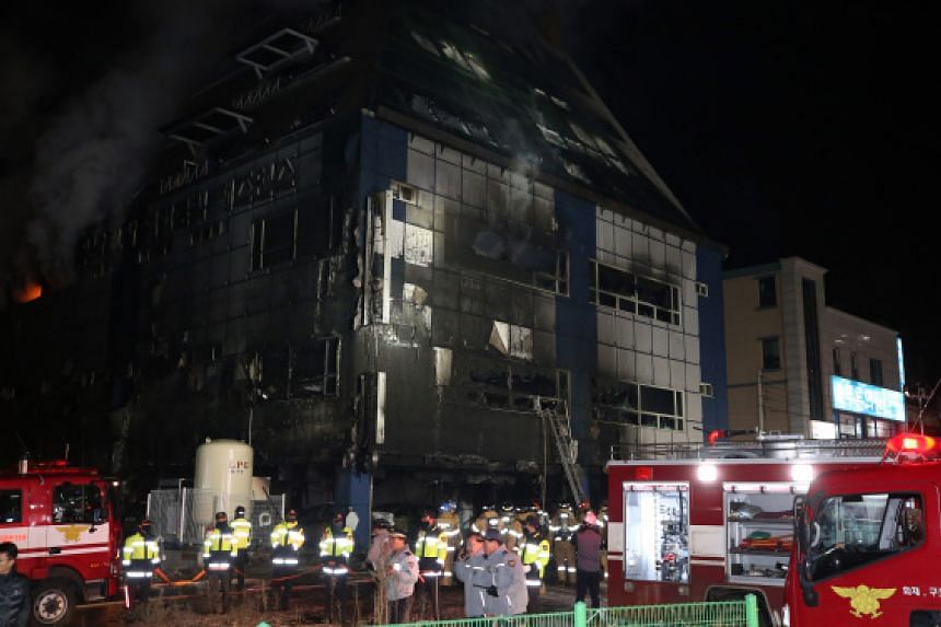 A fire in a commercial building in the southern South Korean city of Jecheon.