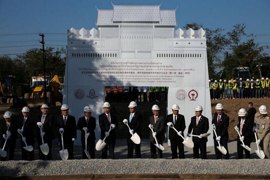 Thai Prime Minister Prayuth Chan-ocha (centre) presides over the groundbreaking ceremony to begin construction of the Bangkok-Nong Khai high speed rail development in Nakhon Ratchasima Province on Dec 21, 2017.
