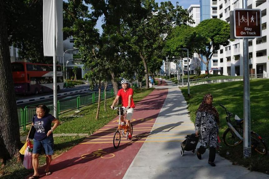 A cyclist using the red path along Bedok North Street 1 on Dec 21, 2017.