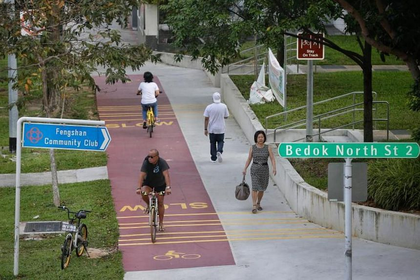 Cyclists cycle past pedestrians on a red path along Bedok North Avenue 3 and near Bedok North Street 2 on Dec 21, 2017.