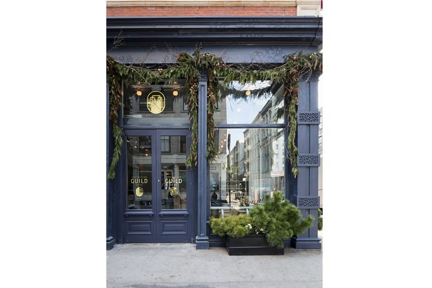 The front of Roman and Williams Guild design store, which now hoses La Mercerie, a new restaurant, in New York.