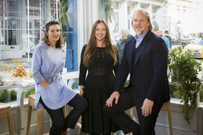 (From left) the chef, Marie-Aude Rose, and the owners, Robin Standefer and Stephen Alesch, of La Mercerie, the new restaurant in the Roman and Williams Guild design store in New York.