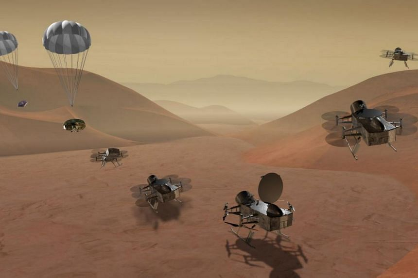 Dragonfly is a dual-quadcopter lander that would take advantage of the environment on Saturn's moon Titan to fly to multiple locations to sample materials and determine surface composition.