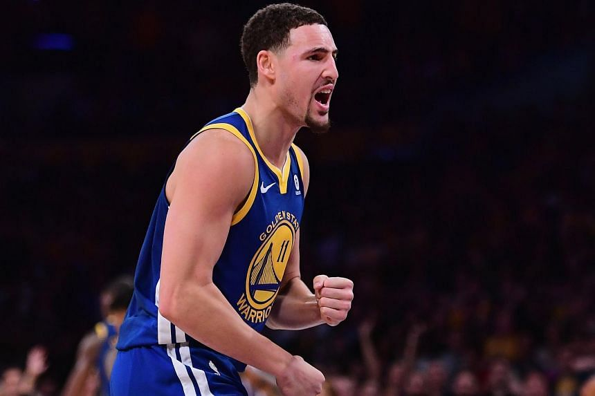 Klay Thompson of the Golden State Warriors celebrates a 116-114 win over the Los Angeles Lakers at the buzzer at Staples Center on Dec 18.