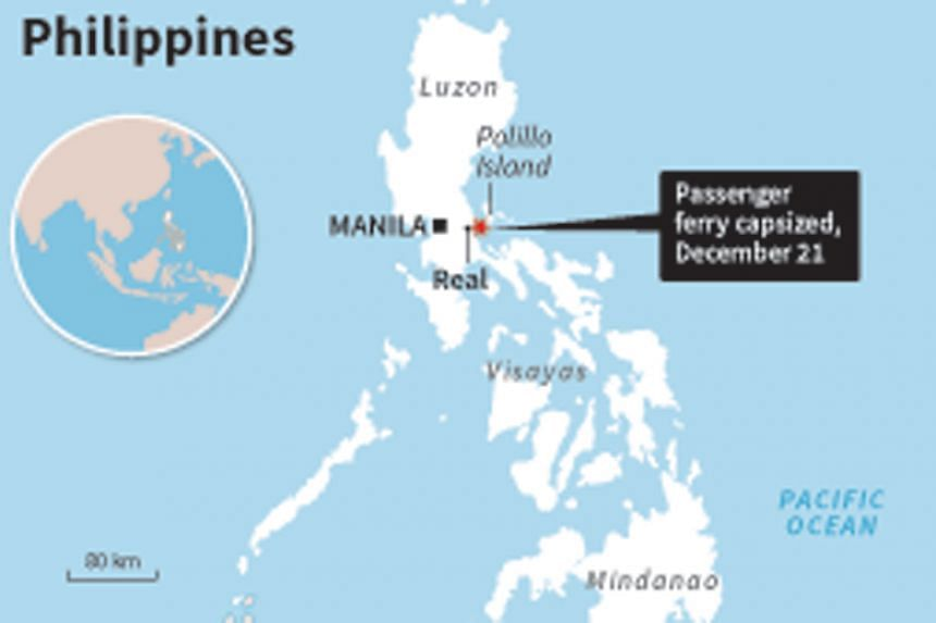 The accident occurred off the town of Real about 70km east of Manila, as the vessel sailed to the island of Polillo in rough weather.