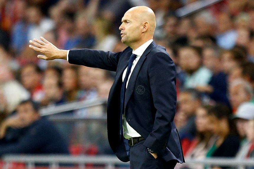 Ajax coach Marcel Keizer gesturing during the Europa League play-off against Rosenborg on Aug 17, 2017.