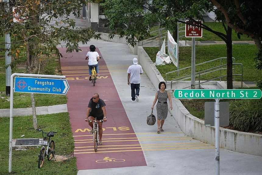 One of the new bicycle paths along Bedok North Avenue 3 near Bedok North Street 2. A further 8km of paths in the town will open next month.