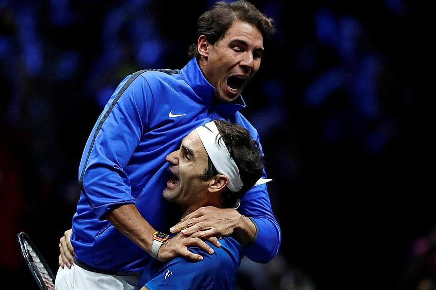 Roger Federer holding up Rafael Nadal as they celebrate a win for Team Europe at the Laver Cup tennis tournament in September. After more than six years, they occupy the game's top two spots again.