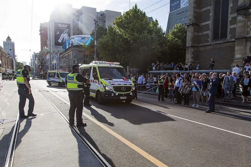 Police have cordoned off the scene of the incident, where a vehicle ploughed into crowds yesterday, at the corner of Flinders and Elizabeth streets in Melbourne's Central Business District.
