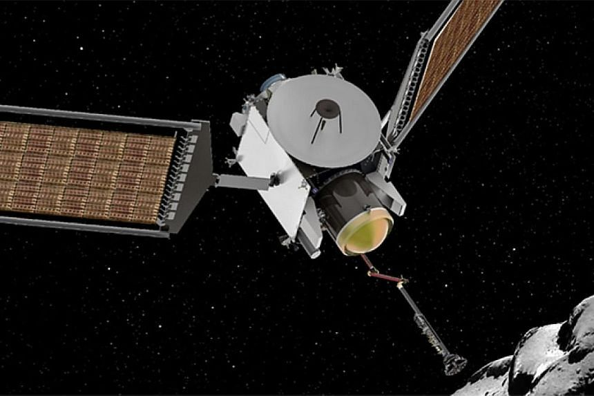 """The Dragonfly mission (above) aims to send a """"drone-like rotorcraft"""" to Titan, Saturn's largest moon, which seen as one of the most likely hosts of some form of life in the solar system. The Caesar mission (left) aims to return to Earth with a sample"""