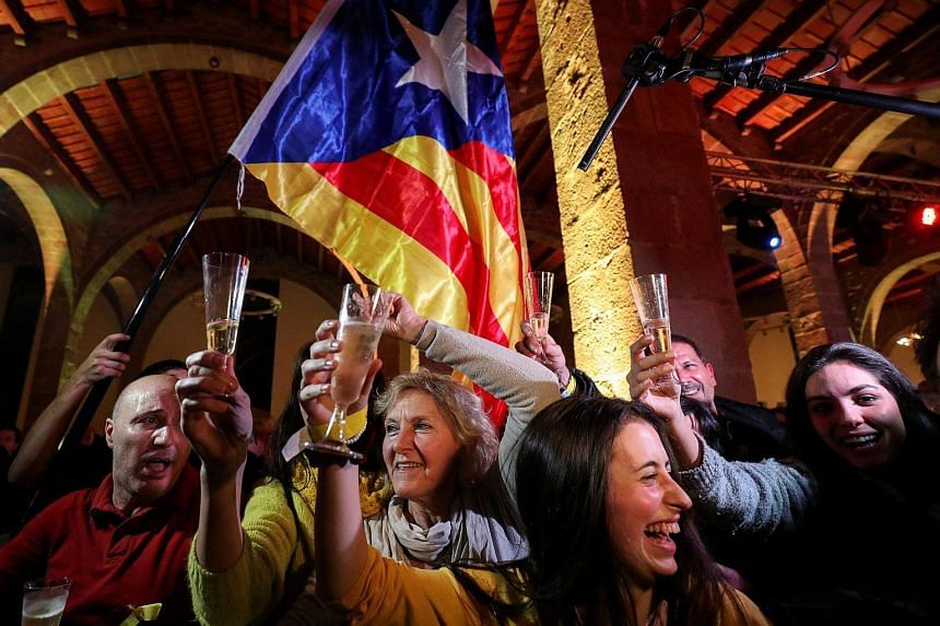 People react to results in Catalonia's regional elections in Barcelona, Spain on Dec 21, 2017.