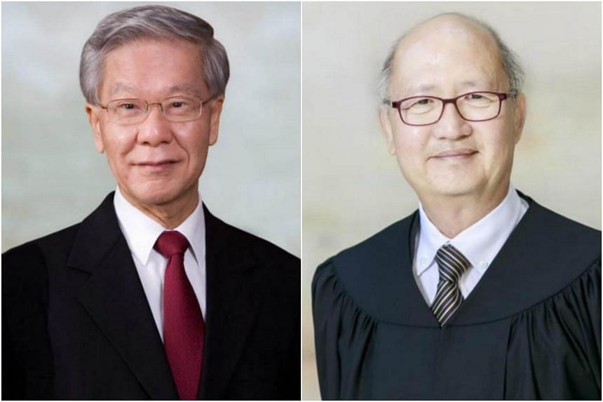 Justice Chan Sek Keong (left) and Justice Kan Ting Chiu will complete their terms as senior judges on Jan 4, 2018.