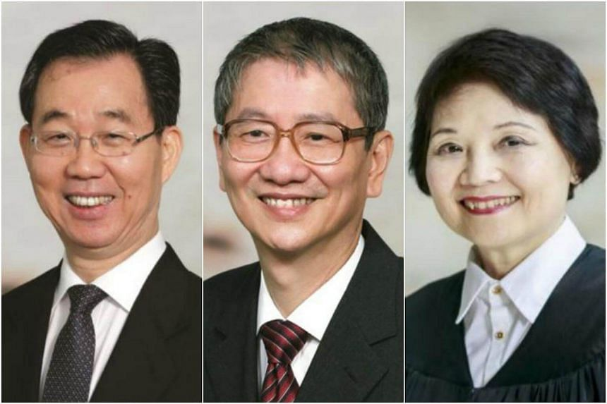 (From left) Justice Andrew Ang, Justice Tan Lee Meng and Justice Lai Siu Chiu have been reappointed senior judges.