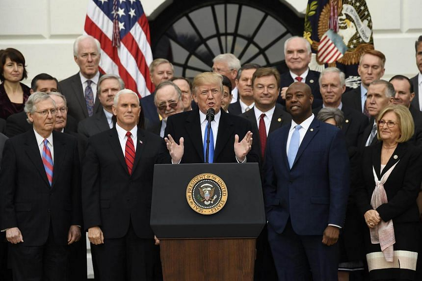 US President Donald Trump speaks about the passage of tax reform legislation on the South Lawn of the White House in Washington, on Dec 20, 2017.
