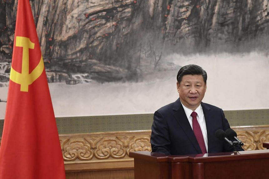 Chinese President Xi Jinping addresses the press at the Great Hall of the People in Beijing, on Oct 25, 2017.