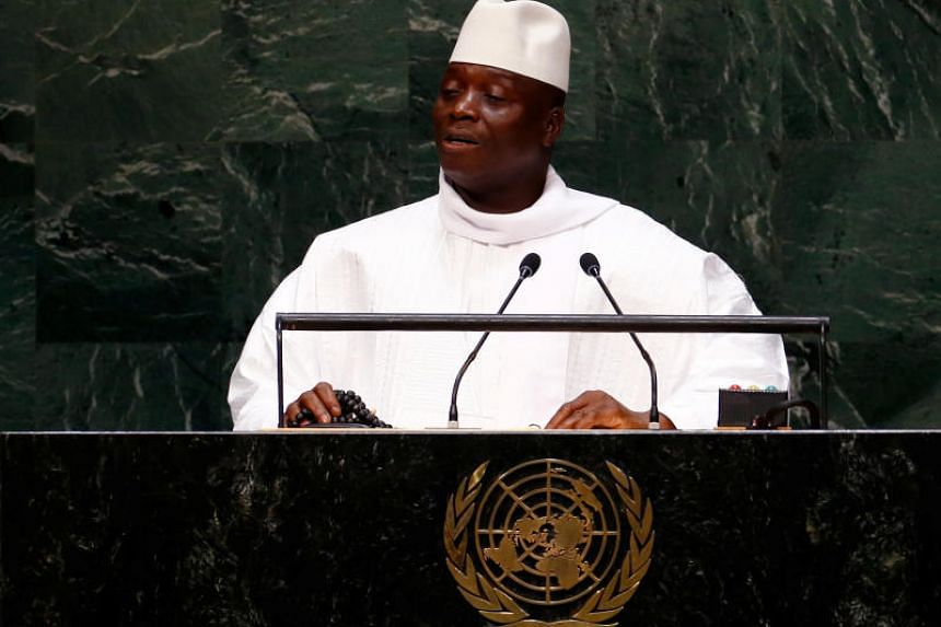 President of the Republic of the Gambia Yahya Jammeh addresses the 69th United Nations General Assembly at the UN headquarters in New York on Sept 25, 2014. He is one of 52 people and entities hit with sanctions for alleged human rights violations an