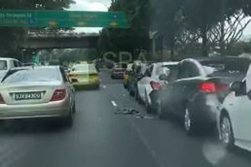 A video of the accident on the Singapore Road Accident Facebook page showed eight cars lined up on the first lane.