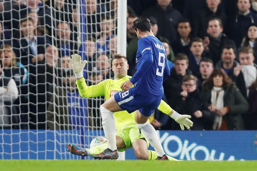 Chelsea substitute Alvaro Morata scoring their second goal in added time, which turned out to be the winner, less than a minute after Bournemouth equalised in the League Cup quarter-final at Stamford Bridge.