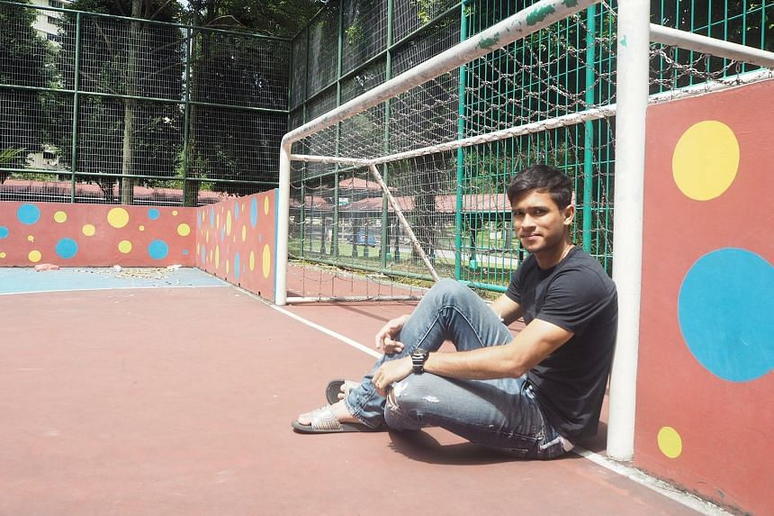 Zulfahmi Arifin at the street soccer court (left) in Ang Mo Kio where he spent countless hours playing when he was a teenager and holding his new club Chonburi's jersey (below).