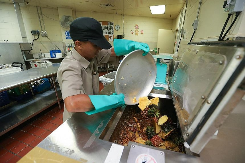 A hotel employee emptying food waste into the Eco-Wiz Dry System recycling machine, which turns the waste into compost for the hotel's herb garden. Green finance channels capital to sustainable industries, companies and projects.