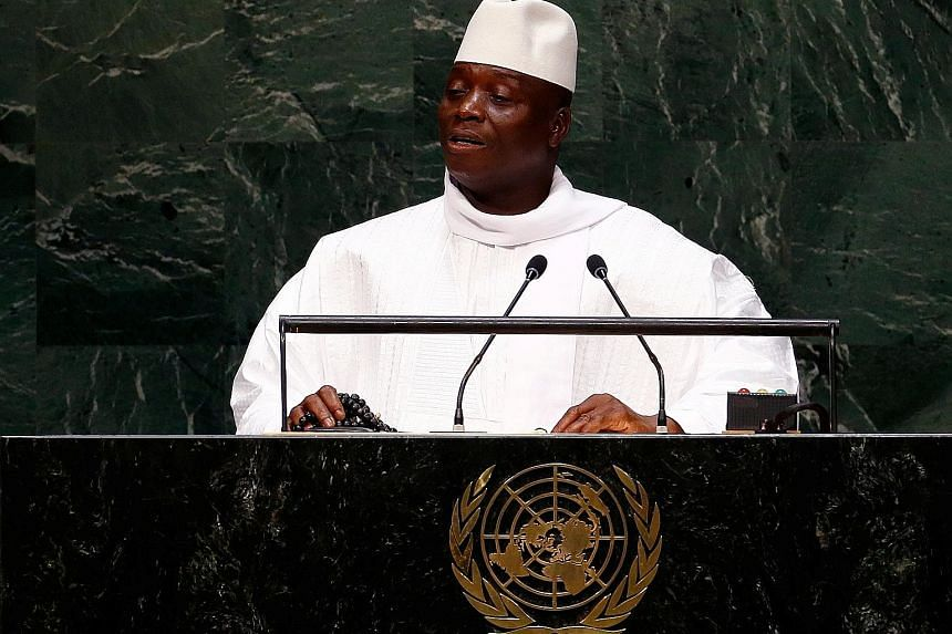 Those facing US sanctions include Gambia's former president Yahya Jammeh (above); South Sudan's Benjamin Bol Mel; Dan Gertler, who did business in the Democratic Republic of Congo; and Myanmar's Maung Maung Soe.