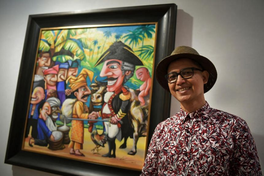 Artist Abu Jalal Sarimon with his artwork, titled We Learn From History, at the Kontemporari 2017 art exhibition, on Dec 23, 2017.