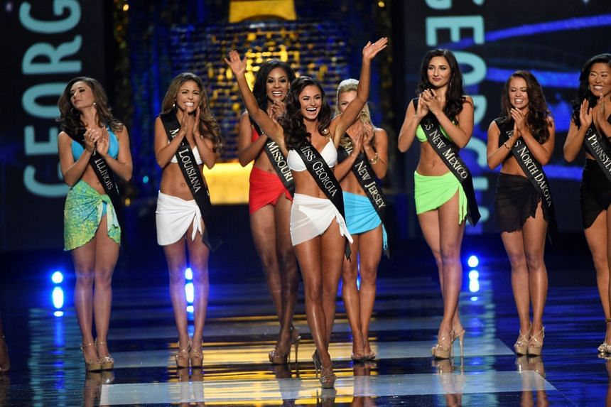 Miss Georgia Alyssa Beasley advances from the swimsuit component of the 2017 Miss America Competition.