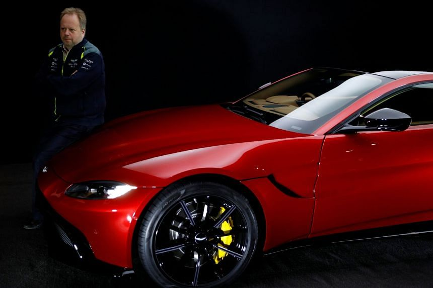 Aston Martin CEO Andy Palmer poses with the company's new Vantage car in November 2017.