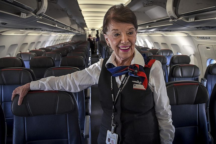 Ms Bette Nash, 81, was recruited as a flight attendant at 21. She says she will not be working until she is 90, but doesn't want to think about retirement. She will be 82 on Dec 31.