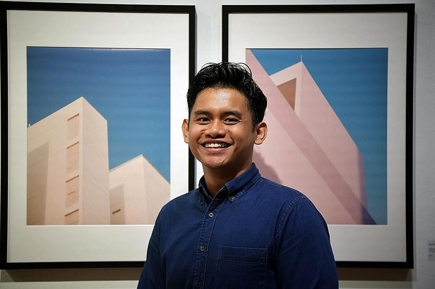 Miss Nuryn Qistina, 17, with her body paintings. She was inspired by a music video to juxtapose an angel against a fallen one has lost his wings. Mr Muhammad Amirul Azman, 23, with his two entries. The buildings in the photographs express simple plea