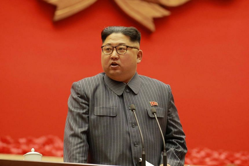North Korean leader Kim Jong Un makes a closing remark at 5th Conference of Cell Chairpersons of the Workers' Party of Korea.