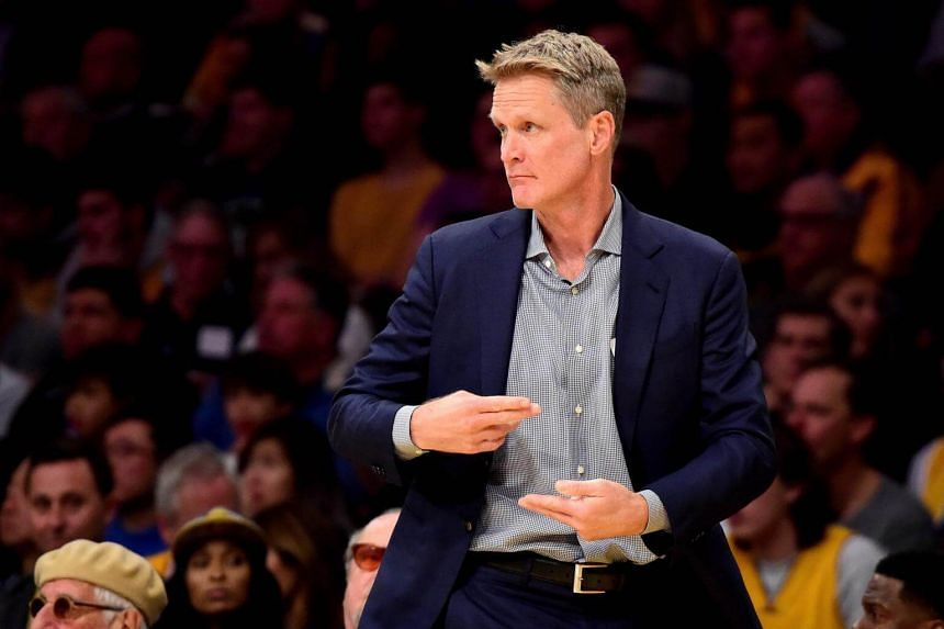 Golden State coach Steve Kerr reacts during the game against the Los Angeles Lakers.