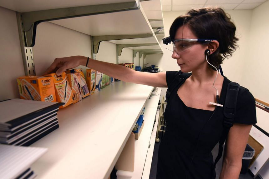 A researcher with French advertising company Ipsos using an eye-tracking device to conduct research into neuromarketing techniques, in Norwalk, Connecticut, on Dec 5, 2017.