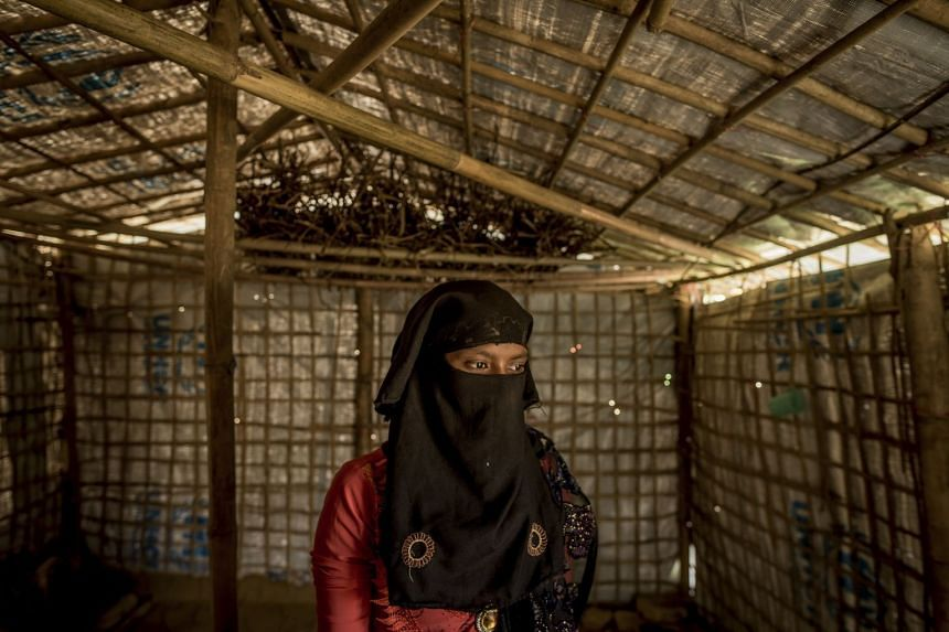 Rahima, 15, a Rohingya refugee who fled Myanmar in September, in her tent at the Kutupalong refugee camp.