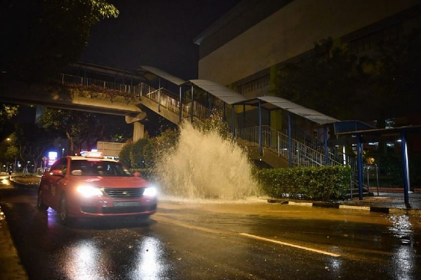 A burst pipe in Tampines Avenue 4 on Christmas morning at around 6am sent a fountain of water gushing up to a height of around 3m.