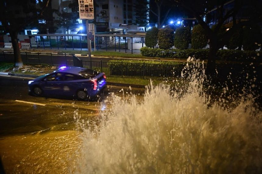 When The Straits Times was at the scene near Junyuan Primary School, only one out of the two lanes on the road was passable to traffic due to the flooding.