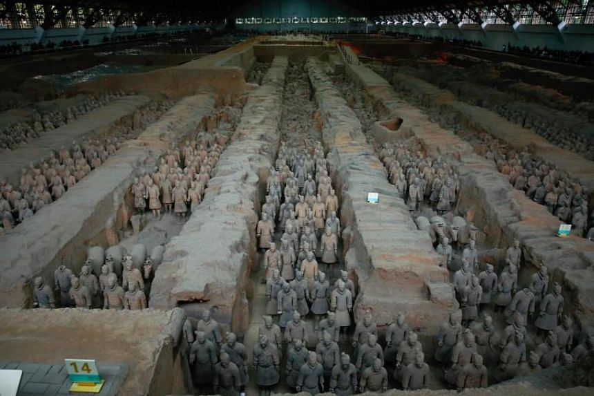 A set of wooden slips found in Hunan province carried executive orders from China's first emperor, Qin Shihuang, who is known for building the terracotta army (pictured).