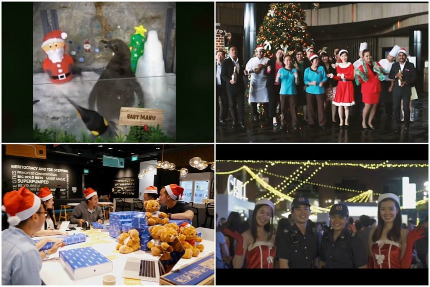 Organisations and brands including (clockwise, from top left) Wildlife Reserves Singapore, Crowne Plaza Hotel, the Singapore Police Force and Uber took to social media to celebrate Christmas.