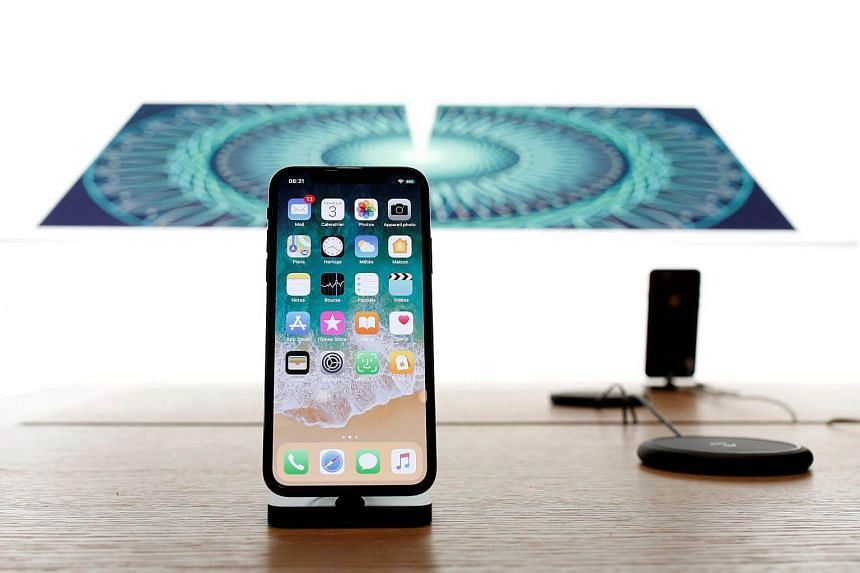 The iPhone X pictured at an Apple Store in Paris.