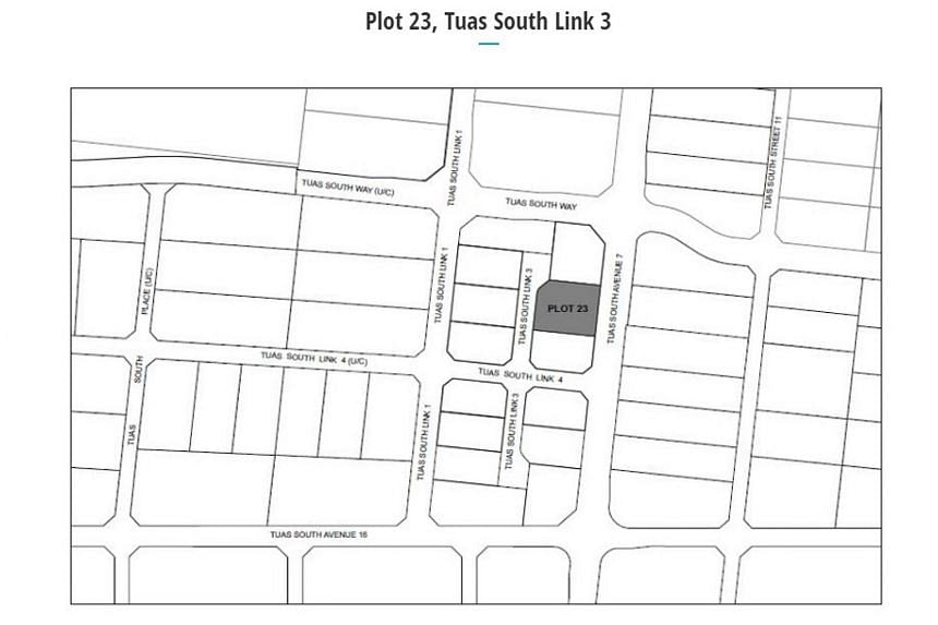 Plot 23, a 0.63ha site in Tuas South Link 3, has a 20-year tenure with a maximum permissible gross plot ratio of 1.4.